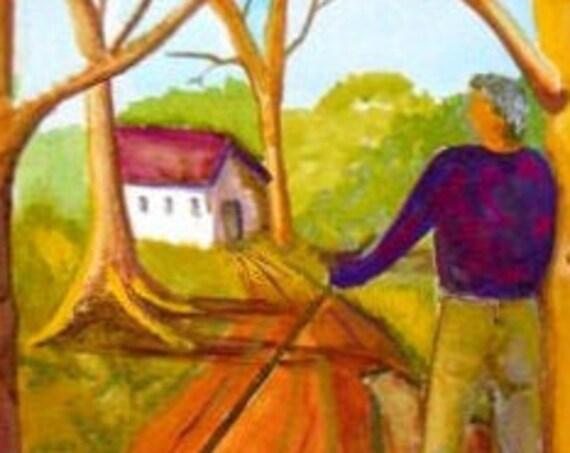 Rustic wall decor, Farmers house, art work from original painting , folk art painting, watercolor painting, modern art prints #020