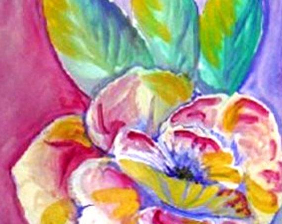 Modern art prints, purple flower, Mother's gift,, bathroom wall art, pink flower, boho room decor, still life art, watercolor painting #70A