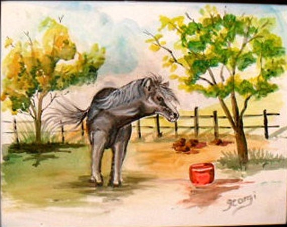 Western home decor, animal farm, modern wall art, wild horse, gift for sister, watercolor art, dining room art, wall picture, home Deco #51A