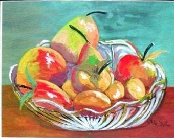 Glass Fruit Bowl, Watercolor Original Painting Print, kitchen Wall Art, Red Apples Painting , Modern Art Prints, Gifts for Sister #67