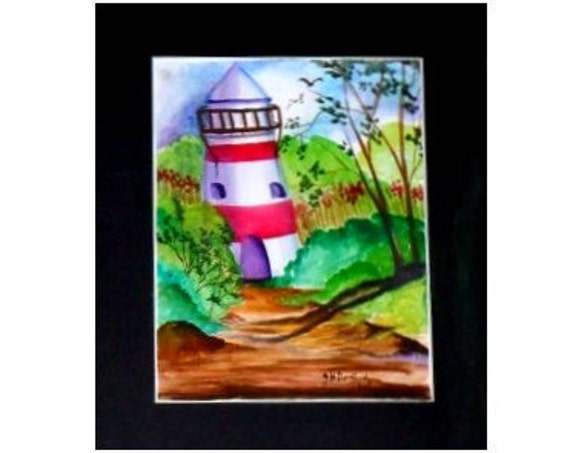 Red and White lighthouse Landscape Watercolor Painting Print, Greenery Painting, Wall Pictures, Livingroom Art, Birthday Gift #008