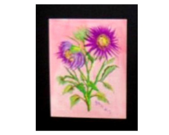lavender Daisy Flower Painting, Gift for Mom,  Floral Original Painting Print , Still Life Painting, Watercolor Wall Art, Bedroom Deor #010