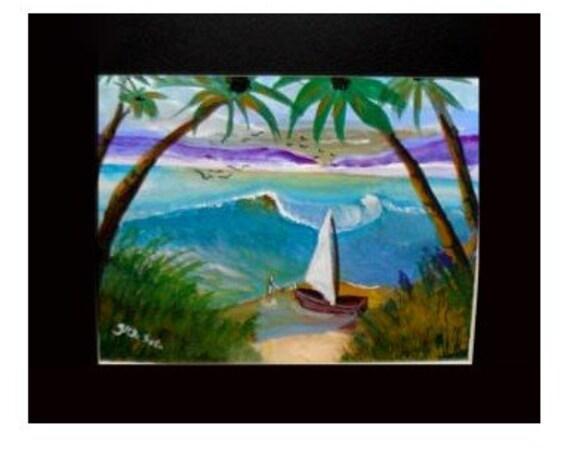 Coastal wall decor-, white sailboat, ocean art, watercolor painting print, nautical gifts, ocean breeze, palm tree art, artwork for home#39