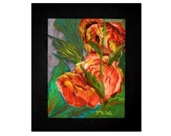 2 Orange Roses, ,Watercolor Original Painting Print, Gift for Mom, Flower Picture, Watercolor ArtWork, Colorful  art, Home Decor #43