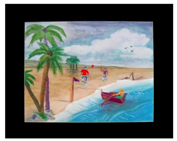 Beach wall art, tropical art, play room, tropical decor, folk art paint, coastal wall decor, watercolor painting,  primitive art #67