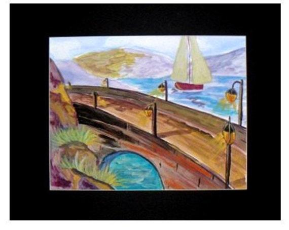 Under the Bridge, Modern Wall Art, Bridge Art, Watercolor Original  Prints, landscape Painting, Art Poster, Housewarming Gift #29