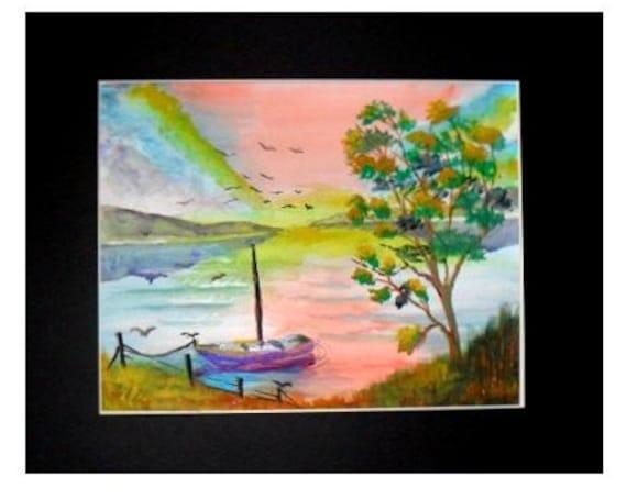 Sunset colors, watercolor sailboat beach print, Landscape wall art, watercolor painting, coastal decor, nautical painting  Holiday gift,#334
