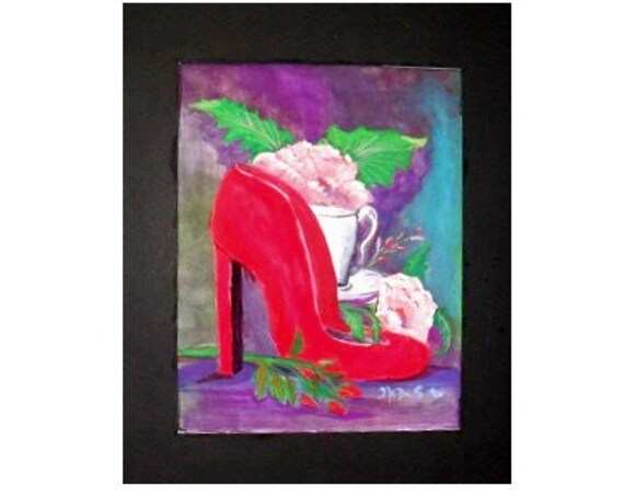 Gifts for mom, red shoe, modern wall decor, watercolor art, watercolor painting, art posters, housewarming gifts, wall pictures, home decor