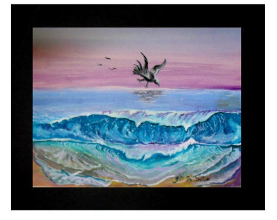 Blue Ocean Waves, Pink Sky, Nautical Wall Decor, Watercolor Original Painting Print, Bedroom Decor Coastal Wall Art # 58