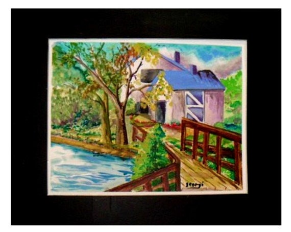 Bridge to the Blue house, landscape watercolor painting , Bridge original print, Home decor,Wall art, living room decor gift #17