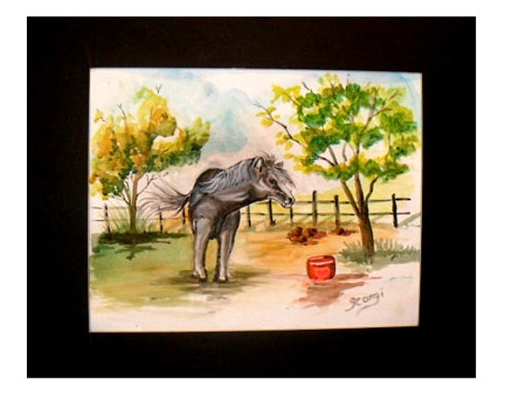 Western home decor, animal farm, modern wall art, wild horse, gift for sister, watercolor art, dining room art, wall picture, home decor #51