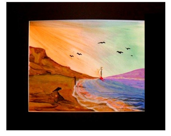 Watercolor painting of a sunset,   bird on a beach painting,  Landscape art print, wall decor, ocean View. gift,#37