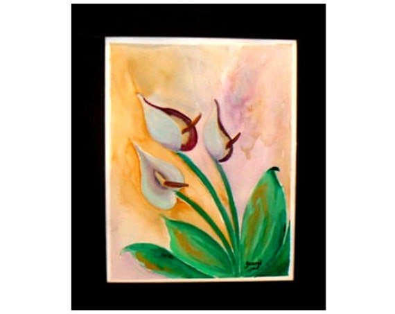 Calla lily flower, watercolor painting, kitchen wall art, calla lily, gift, art print, watercolor art, folk art paint, home decor #17