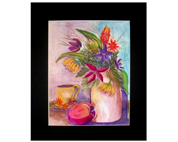 Flowers fruit vase, still life painting, watercolor painting print, kitchen art, watercolor painting, rustic wall art, gift, home decor #78