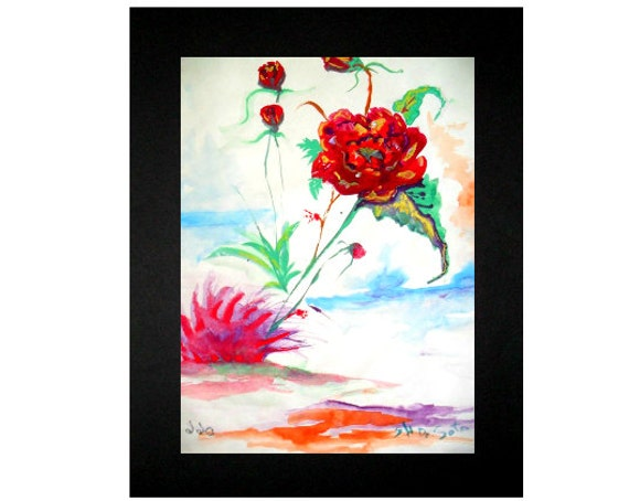 Flower painting, red watercolor flowers, modern wall art, cool poster, artwork for home, still life , watercolor art, bedroom wall art #49