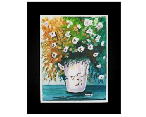 White flowers, flowers in a vase, watercolor print, white flowers bouquet, art posters, modern wall art, wall pictures, boho wall art #46