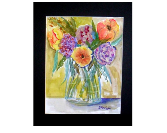 Flowers in a vase, watercolor art, purple and yellow flowers, watercolor painting,Moms gifts, art poster, kitchen wall art, home decor #79