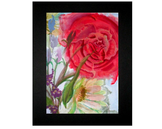 Watercolor Wall art, Watercolor Painting print , Red flower painting, Holiday gifts#317,