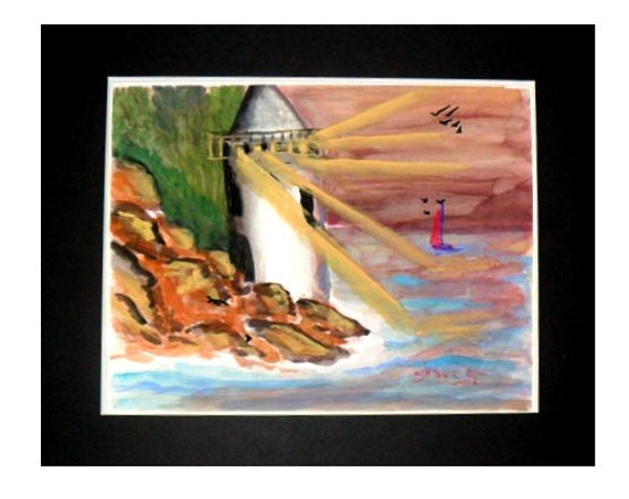 Lighthouse landscape painting,Watercolor art print,from my original painting,Bedroom wall art, Sunset painting,gift # 28