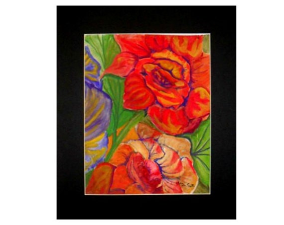 Βoho room decor, red flowers, modern art prints, cool posters, hippie room decor, watercolor art, painting of roses, gifts for mom #61