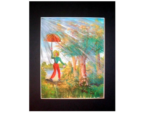 Grandma, Gifts rain art, folk art painting, watercolor painting, red umbrella art, watercolor artwork, gifts home residents, home decor #36