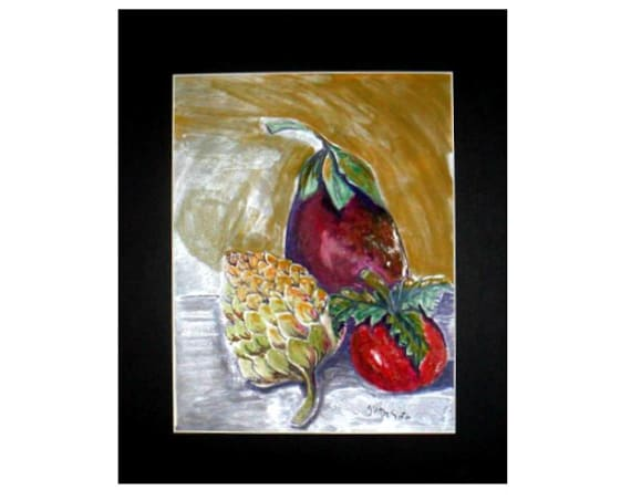 Kitchen wall art, fruit art, still life, red tomato, watercolor prints, eggplant art, wall pictures, artichoke art, dining room art #013