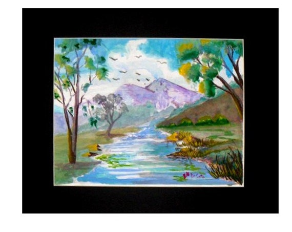 Mountain stream, watercolor painting, rustic wall art, landscape art, river paintings, art posters, unique wall art, wall pictures#31