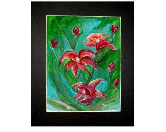 Modern art prints, red lilies,  flowers paintings, watercolor art, garden wall art, watercolor painting, unique wall art, kitchen decor #7