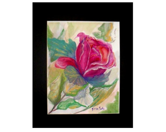 Gift for Mother's Day, single red rose original artwork, watercolor painting print , floral picture,  #34