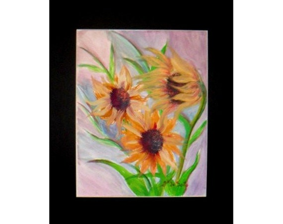 Yellow Daisies Floral Watercolor Painting Print,Garden Flower from Original Painting Yellow  Artwork Watercolour Wall Art, Gift ,Home Decor.