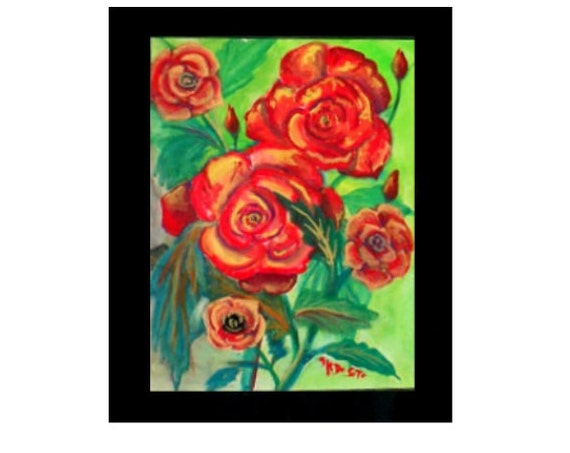 Red Rose's for Mom, Watercolor Original Painting Print, Art Poster, Bedroom Folk Art, Gift for Brithday , Redroom Wall ArtHome Decor #56