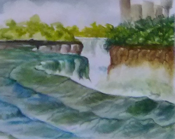 Niagara Falls Painting, Watercolor Original Painting Print, Painting of Water Fall, Landscape Water Fall, Picture of Niagara,  Gift # 198