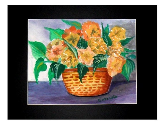 Yellow Daisies Tan Wicker Basket, Watercolor Original Painting Print, Modern Wall Art, Home Decor, Autumn Floral Painting, Gift # 010