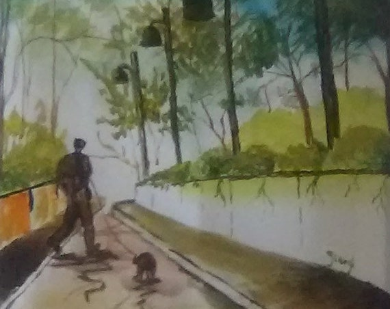 Watercolor painting Man and Dog  ,Dog Painting , Dog and Friend,Wall decor, Art prints, wall art, Birthday gifts , painting #188