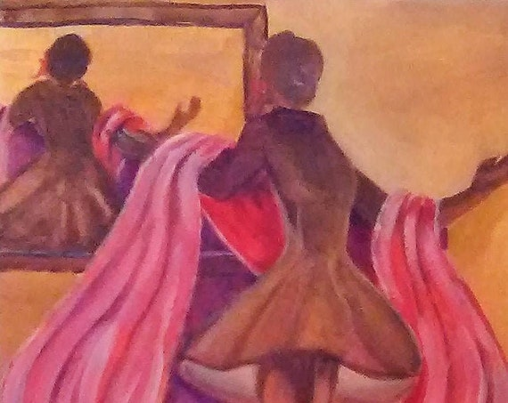 Lady in  Mirror, Dancing Lady, watercolor painting, modern wall art, cool posters, figure wall art, giftr, cool wall art, home decor #32
