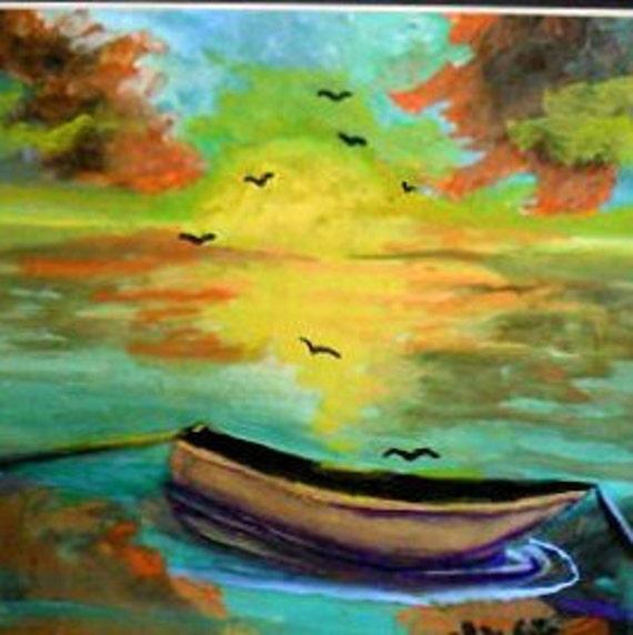 Rustic Wall Art, Boat Watercolor Original Painting Print, Family Room Art, Home decor,Landscape Art, Housewarming  Boys Gift ,   #02