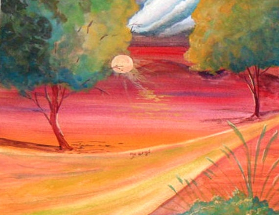 Abstract watercolor painting , print of my artwork, orange sunset,landscape painting, boys gift # 17
