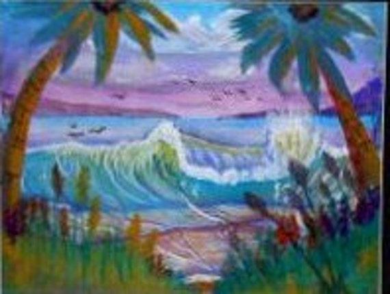 Coastal wall art, ocean waves, tropical decor, modern wall art, seascape art, palm tree art, tropical landscape, watercolor painting #2B
