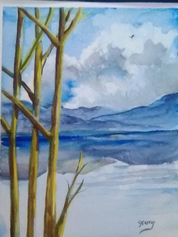 Landscape Autumn Painting, Watercolor Landscape Painting,  art Print, Watercolor Watercolor Art Print, Blue Tree Painting, Holiday gift #169
