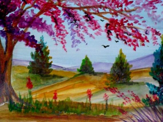 Tree wall art, landscape painting, modern wall art, watercolor art, cheap wall art, cool posters, folk art painting, modern art prints #622