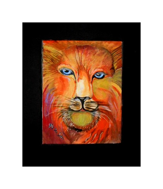 Lion Head, Watercolor Original  Painting Prints, lion Art, Animal Art, Modern Wall Art,  Folk Art Painting, Gift, Home Decor #339