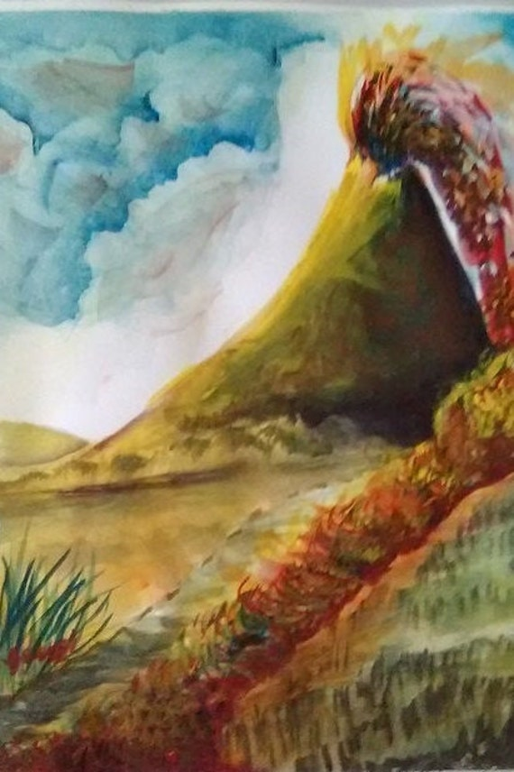 Volcano, Watercolor Printed Artwork,Landscape painting print, Original Watercolor picture, Wall art,Home decor, gift, #176