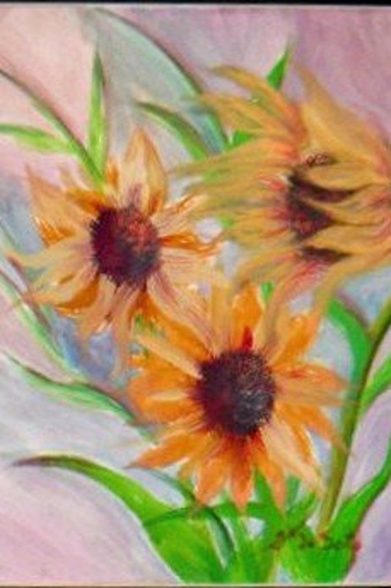 Yellow Daisies Floral Watercolor Painting Print,Garden Flower from Original Painting, Artwork,