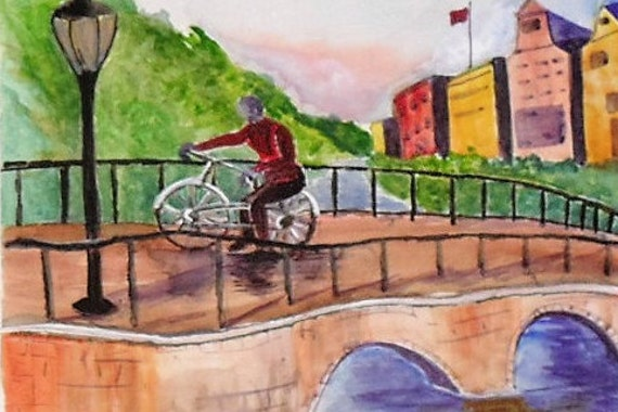 bicycle ride, watercolor art,  wall art print, bicycle art, boys room decor, watercolor painting, watercolor landscape, home decor, gift #55