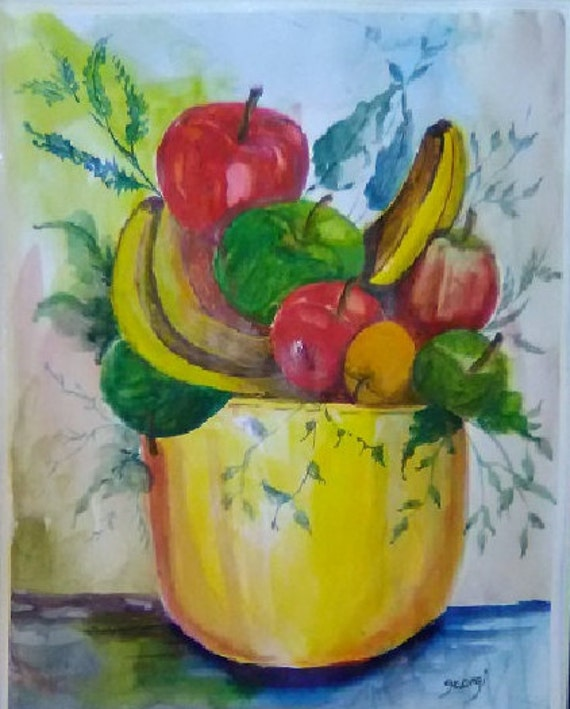 Mother's day gift,yellow fruit bowl, watercolor painting, gifts for her, apples art, banana wall art, wall pictures, dining room decor #172