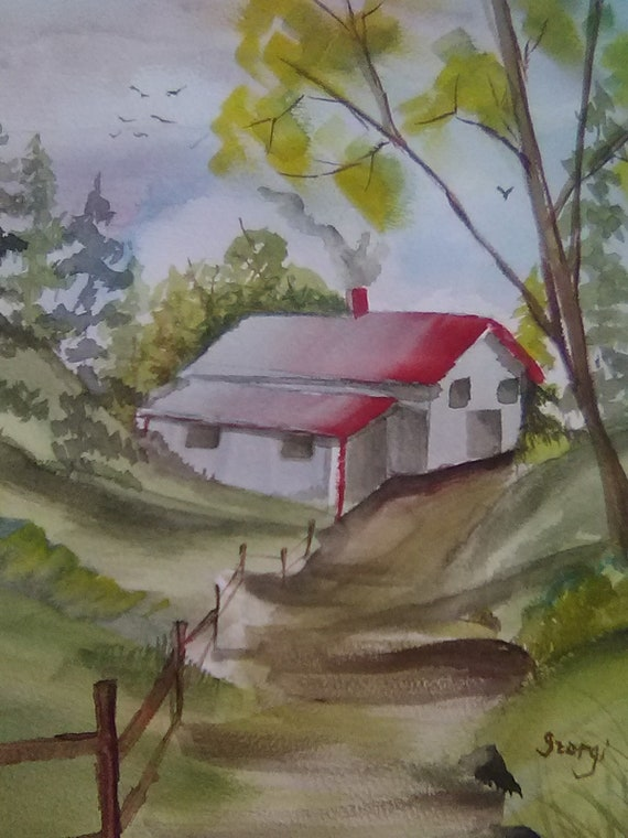 Red Roof House on a Country Lane, Gift, Country Landscape, Gift for Mom, Watercolor Art Print, Home Office Wall Decor #193