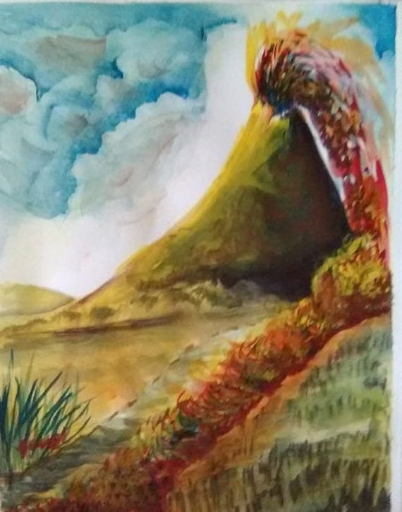 Volcano, Watercolor Printed Artwork,Landscape Painting Print, Original Watercolor Picture, Wall Art, Home Decor, Gift, #176