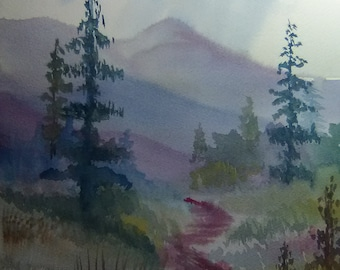 Country Walk Watercolor Original Painting printed for you , artwork, print  home decor, wall art, abstract painting #212