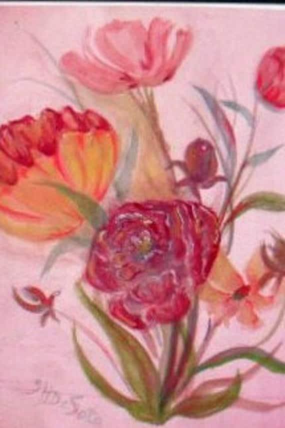 Floral Wall Art, Watercolor Original Painting Print, Botanical, Gift, living Room Art, flower Painting, Watercolor Art  ,Garden Wall Art #78