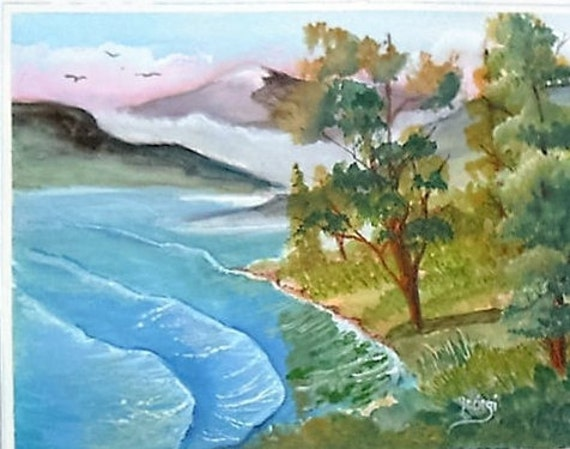 Folk art painting, lake shore, modern wall art, wall pictures, artwork for home, landscape painting, unique wall art, wall decor,#57
